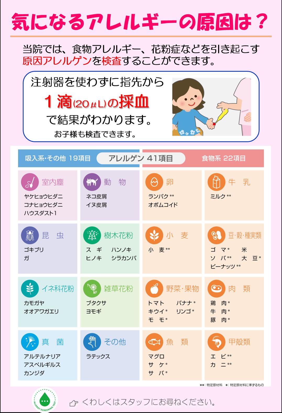41種類アレルギー検査のチラシ